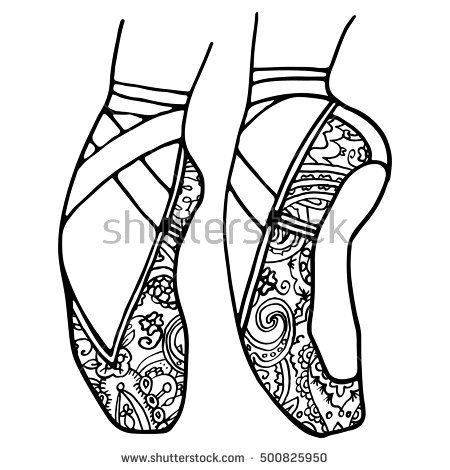 450x470 Pointe Shoes Coloring Pages