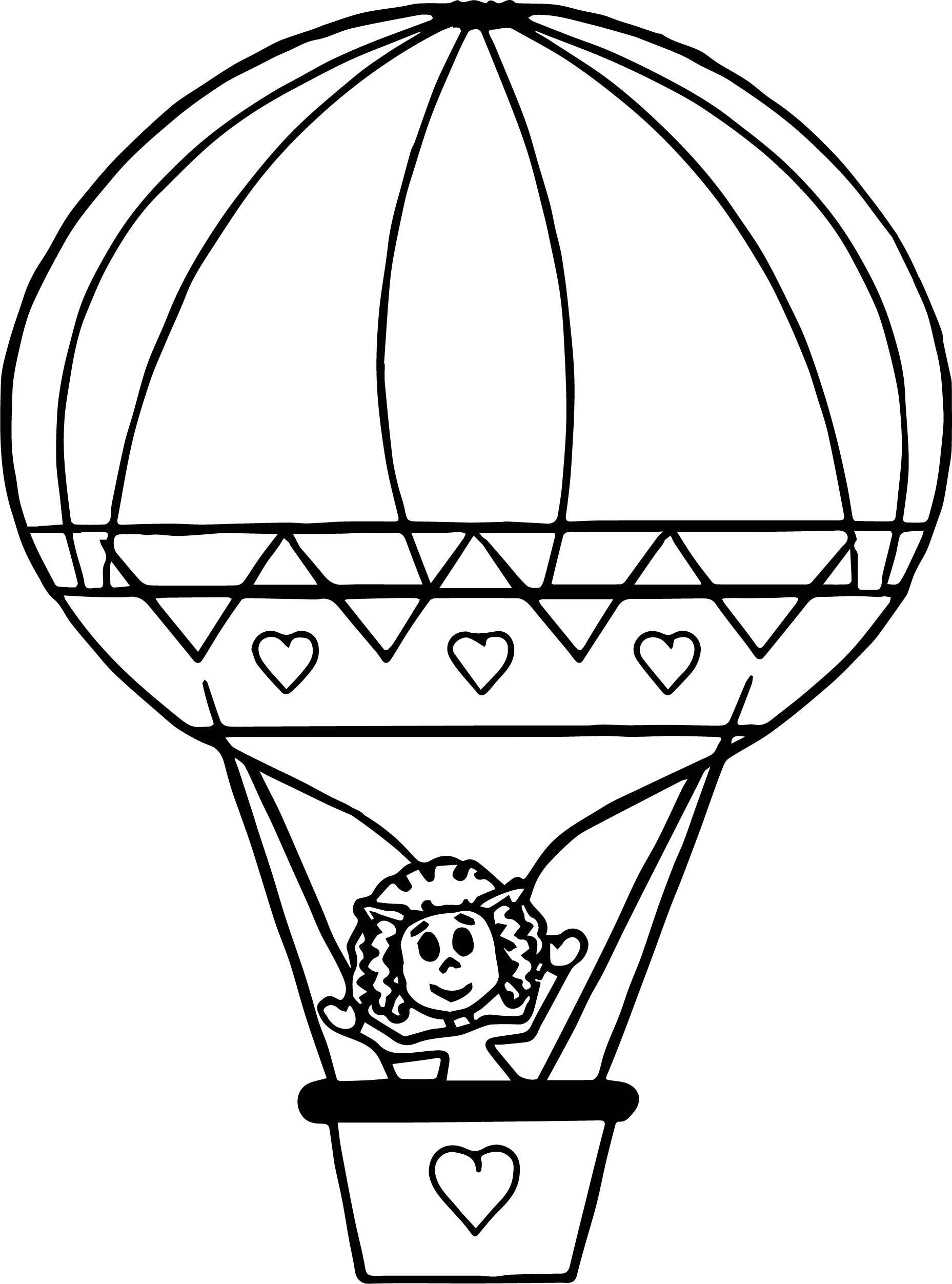 1857x2504 Hot Air Balloon Coloring Page