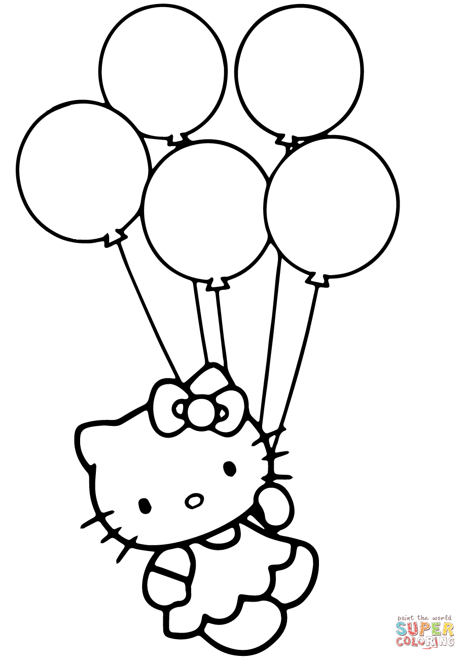 919x1300 Quickly Ballon Coloring Page Balloon Pages Hello Kitty