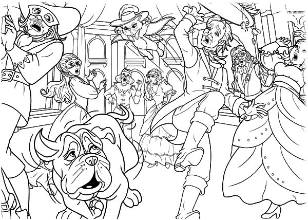 600x428 Barbie Three Musketeers Chaos In The Ballroom Coloring Pages