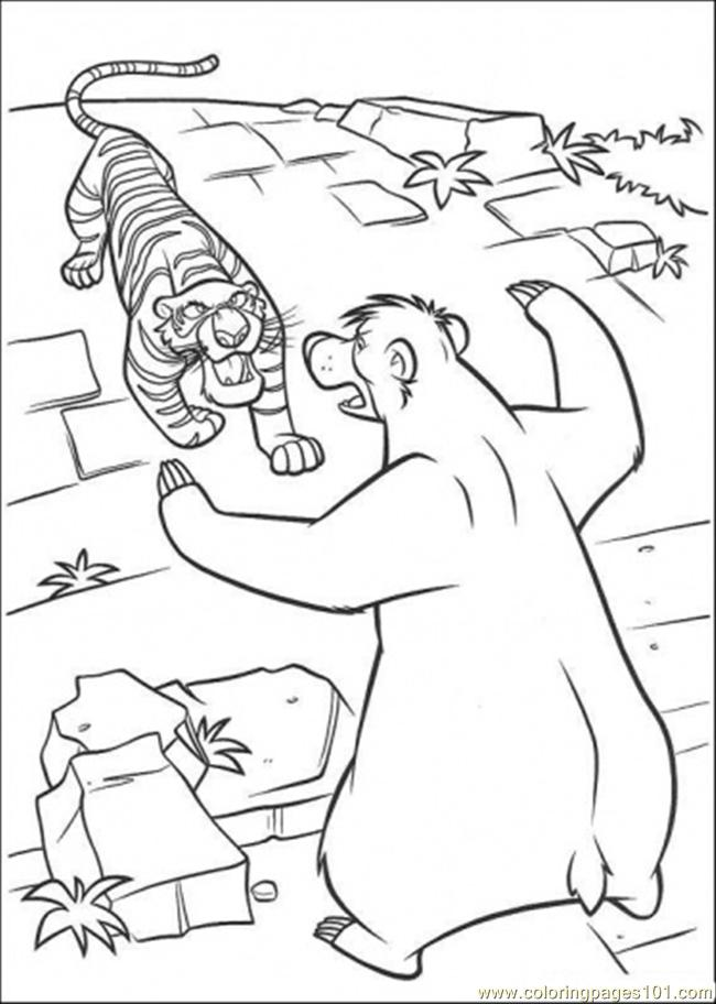 650x912 Baloo Fights With Share Khan Coloring Page