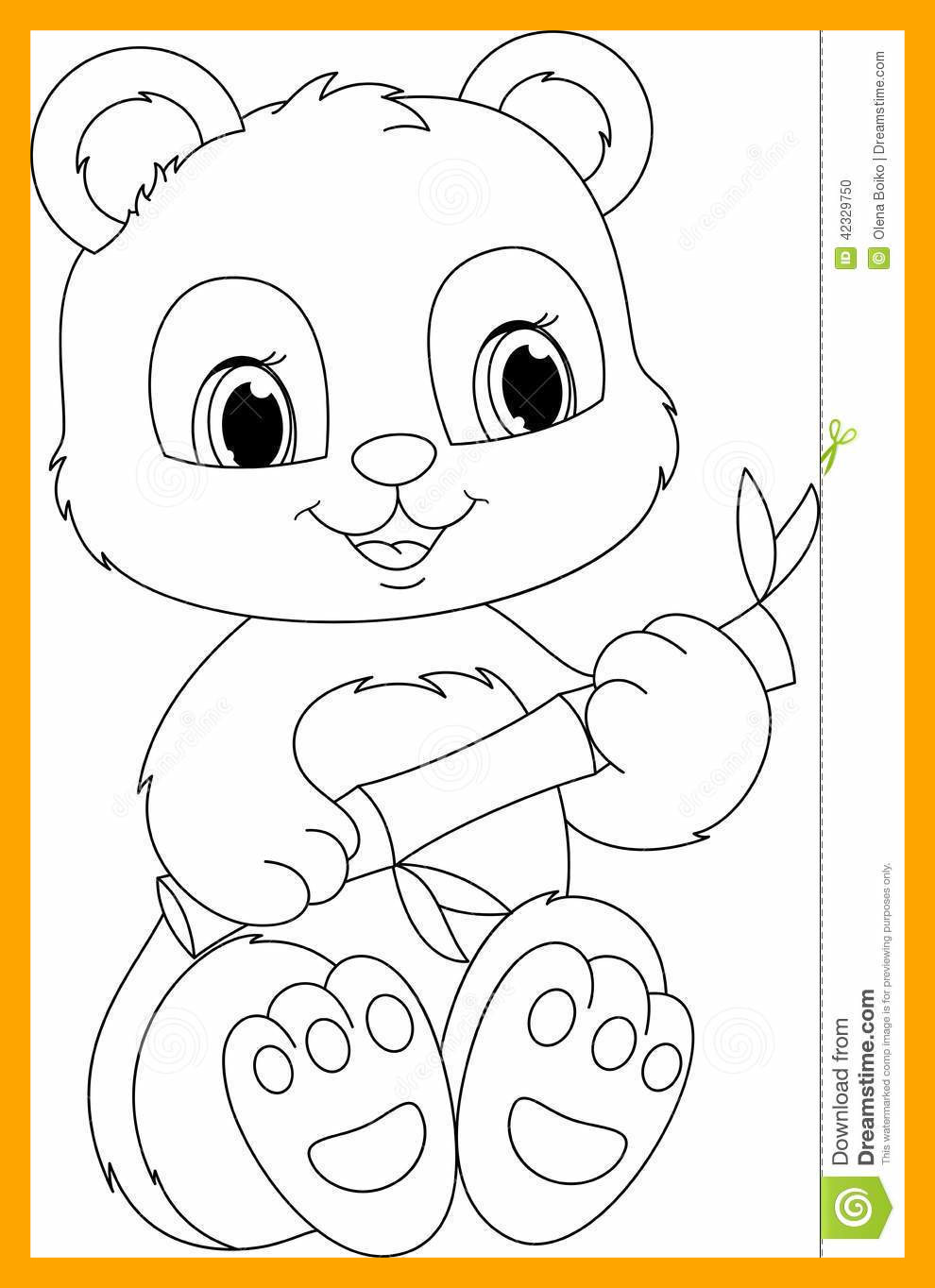 990x1364 Panda Eating Bamboo Coloring Page