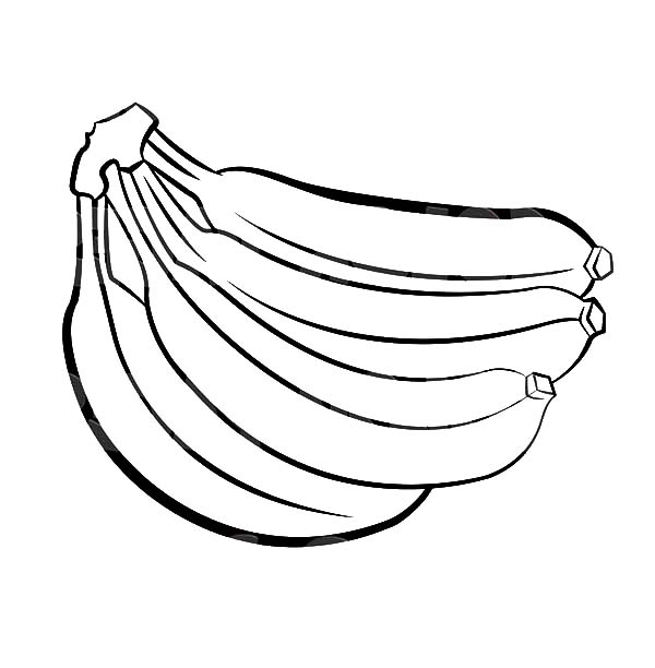 600x612 Coloring Pages Of Bananas Banana Bunch Netart