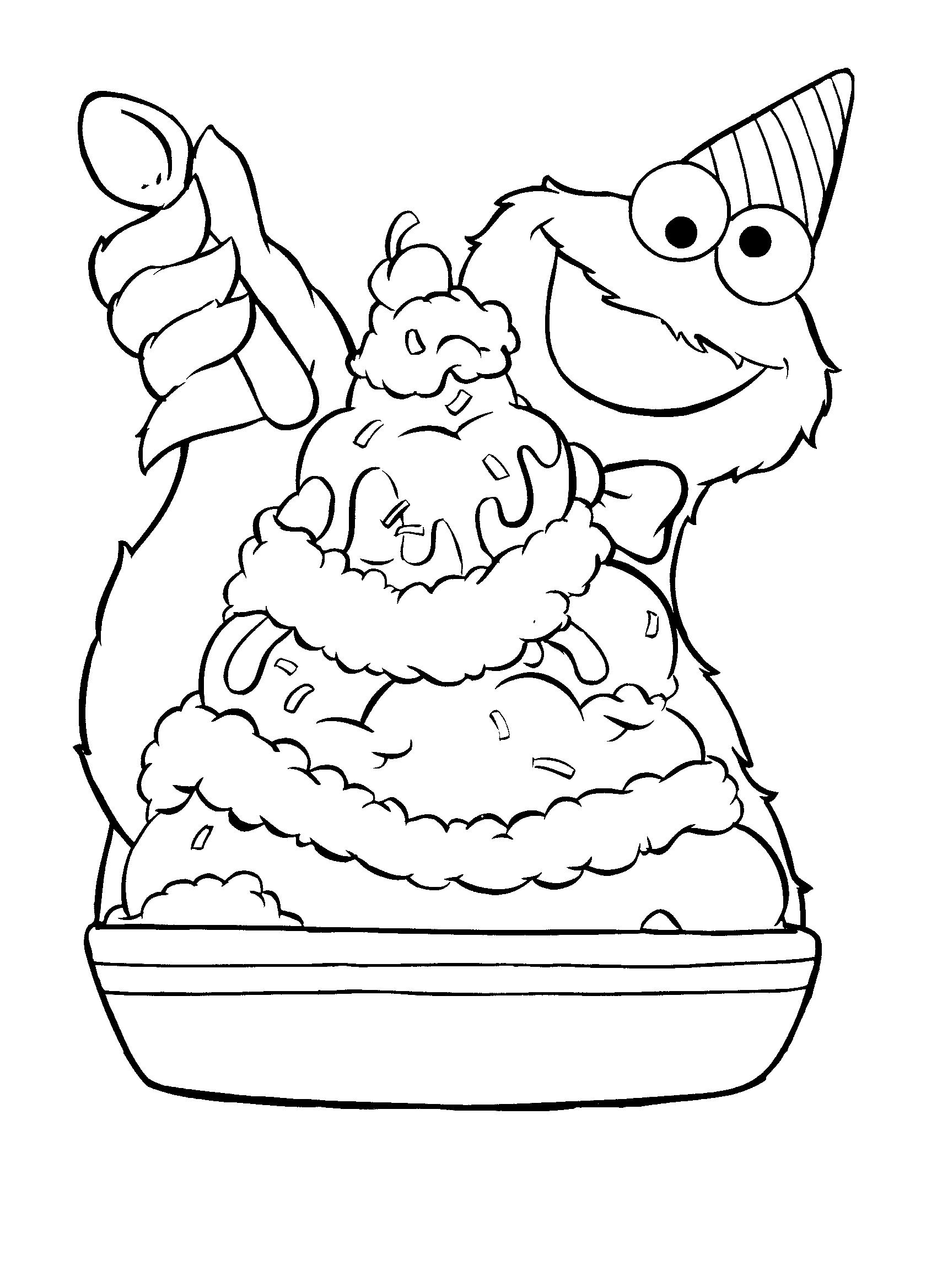1700x2338 Banana Split Coloring Page Cookie Monster Ice Cream Sundae Pages