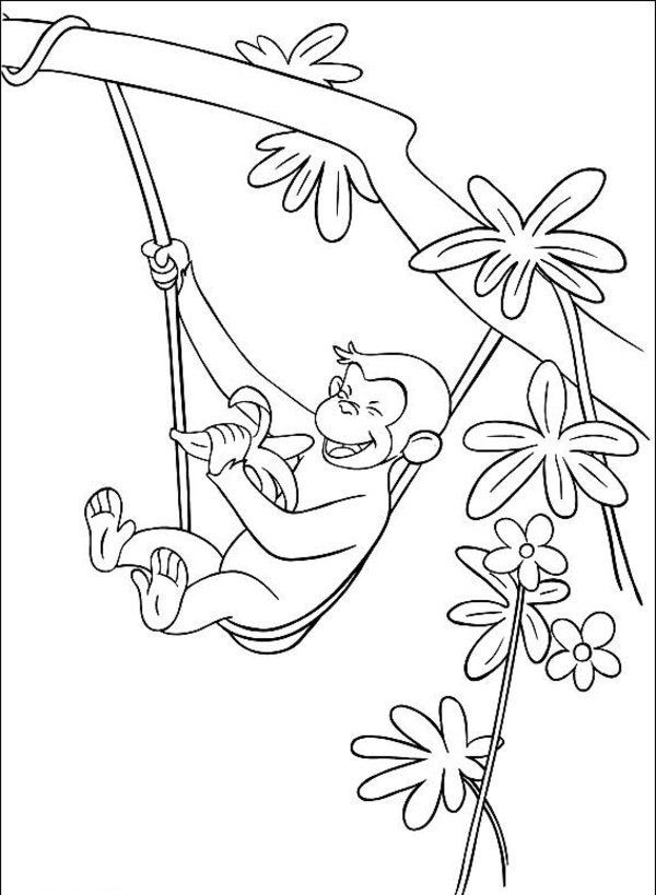 600x819 George The Monkey Eating A Banana In The Tree Coloring Pages