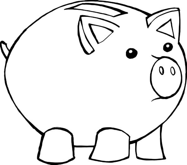 600x530 Piggy Bank Coloring Page