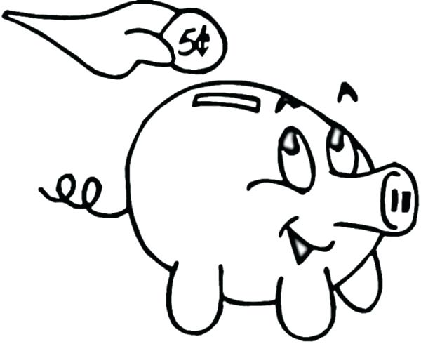 600x490 Piggy Bank Coloring Page Piggy Bank Putting Coin In Piggy Bank