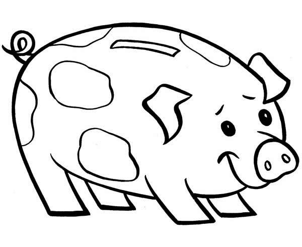600x490 Piggy Bank Is Smiling Coloring Page Color Luna