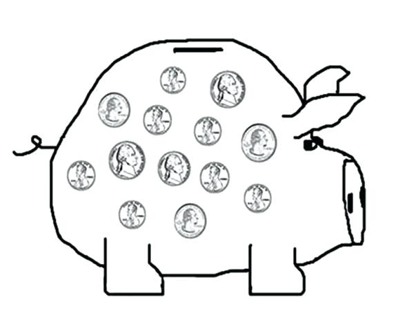 600x463 Printable Coin Coloring Pages And Piggy Bank Saving Your Money
