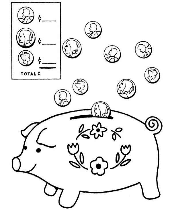 600x734 Coin Going In Piggy Bank Coloring Page Color Luna