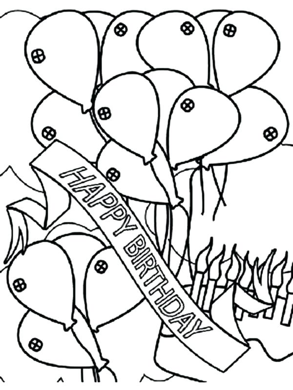 600x800 Coloring Pages For Birthday Birthday Banner And Balloons Coloring