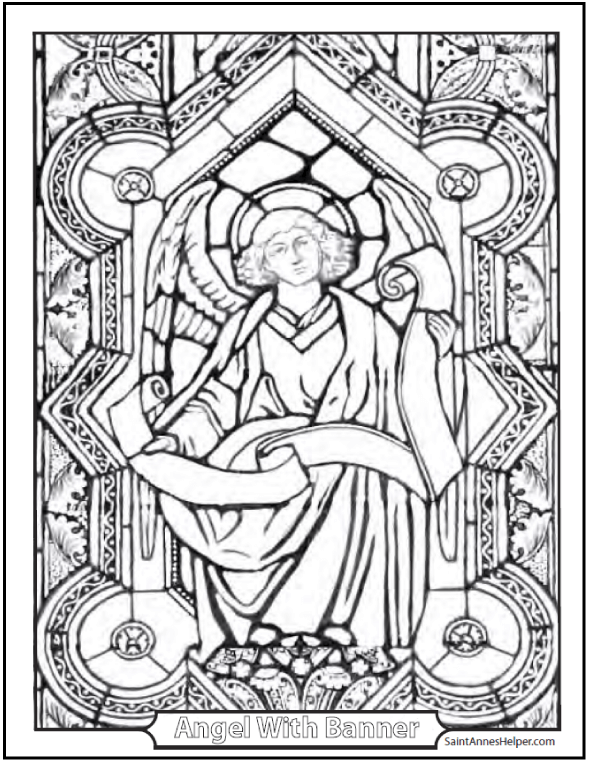 590x762 Angel Coloring Page Biblical Angel With Banner