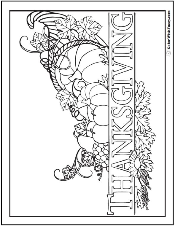590x762 Thanksgiving Cornucopia Banner To Color Thanksgiving Cornucopia