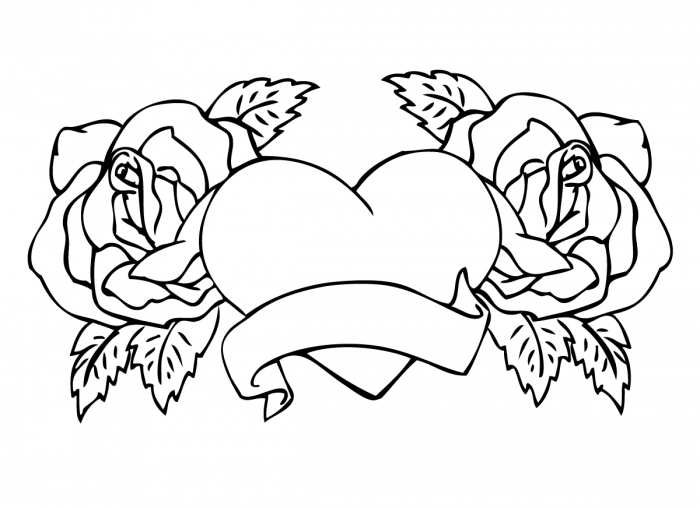 700x508 Free Printable Adult Coloring Pages Roses And Hearts With Banners