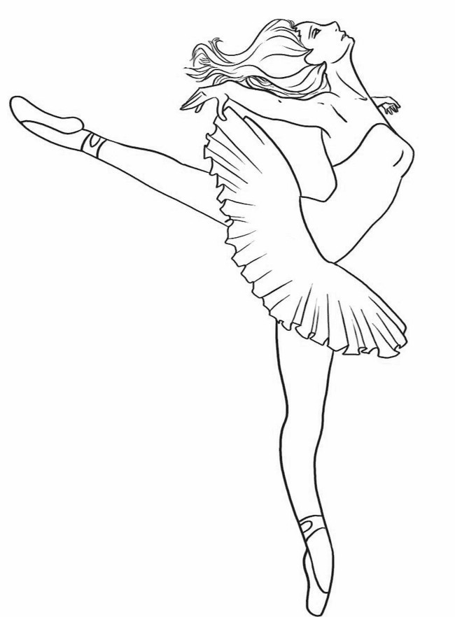 650x882 Barbie Ballerina Coloring Page