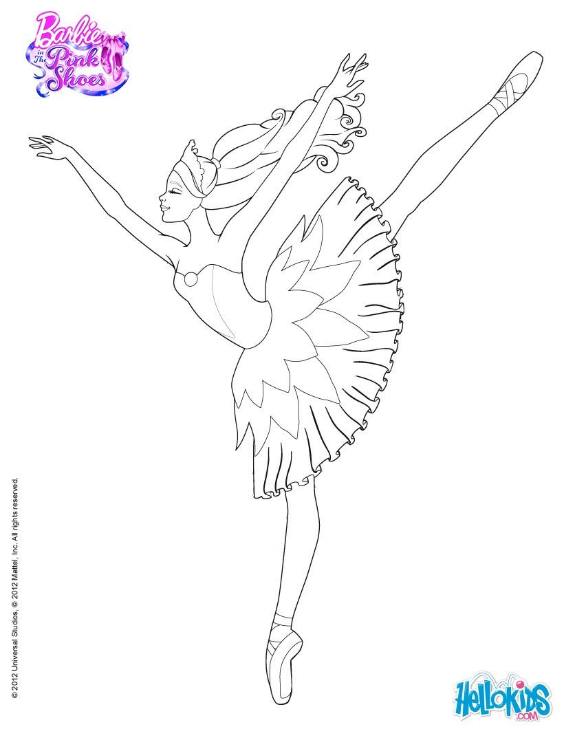 820x1060 Barbie Is Dancing With The Pink Shoes Coloring Page More Barbie