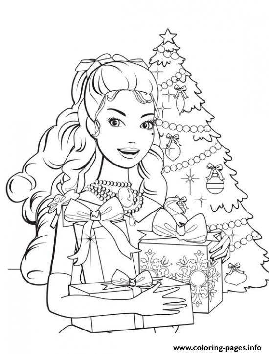 550x723 Barbie Christmas Coloring Pages To Print Barbie Princess Christmas