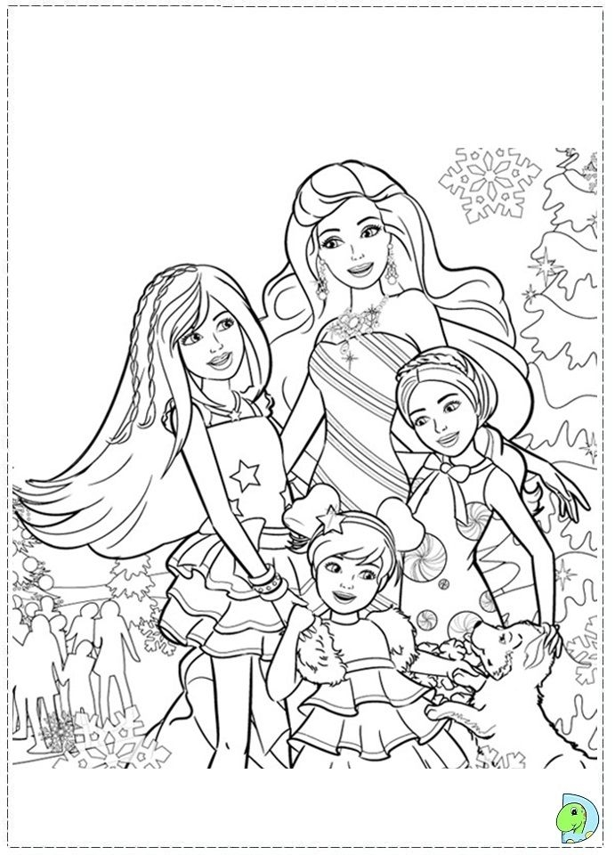691x960 Barbie Christmas Coloring Pages