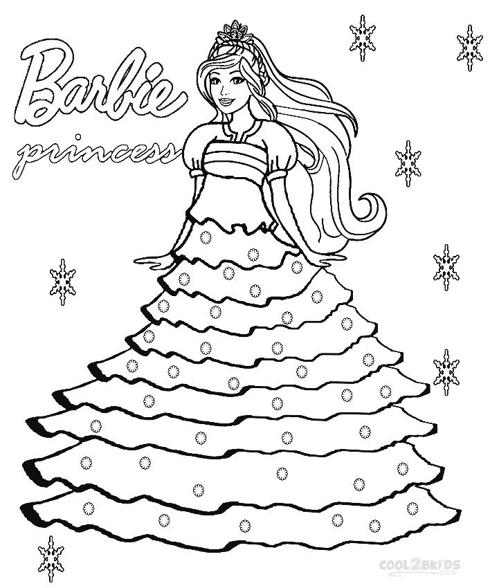 708x850 Printable Barbie Princess Coloring Pages For Kids