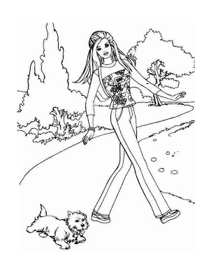 309x400 Barbie Coloring Pages Barbie And Puppy Coloring Pages