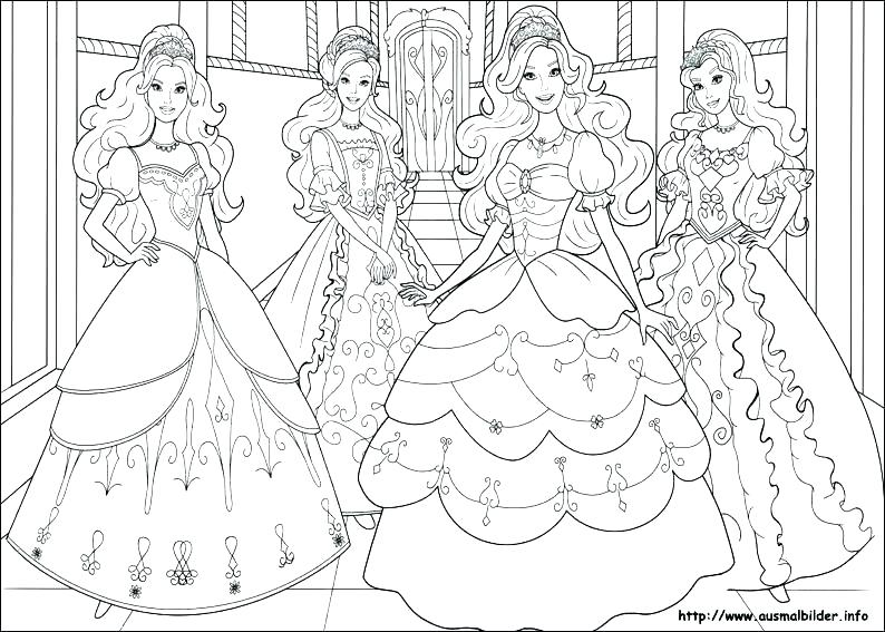 794x567 Barbie Coloring Pages For Girls Barbie Princess Friends Barbie