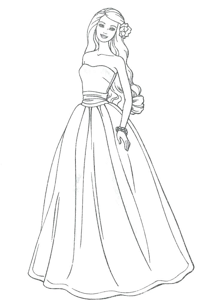 718x1024 Dress Coloring Page Barbie Dresses Coloring Pages Wedding Dress