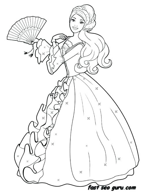 489x665 Dress Coloring Pages Printable Barbie Princess Dress Colouring