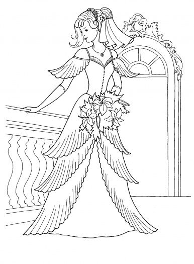 386x525 Princess Dress Coloring Pages Princess In Her Wedding Dress