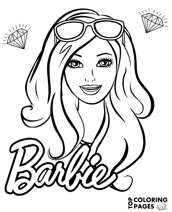 600x740 Barbie's Face Free Coloring Page, Books, Sheet