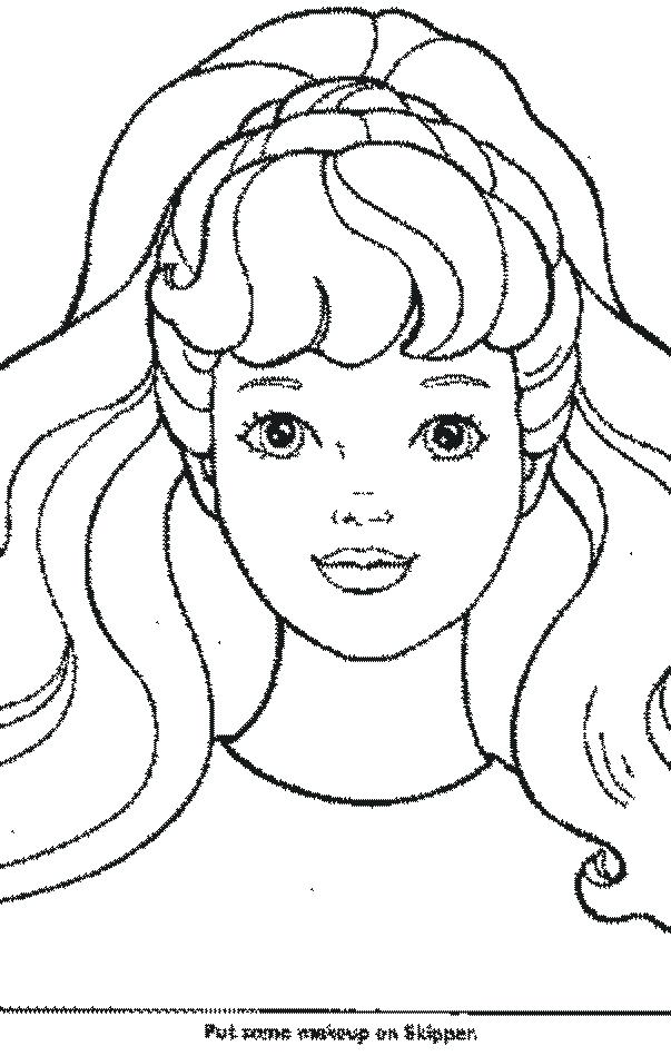 603x949 Free Barbie Coloring Pages Coloring Page Barbie Face Coloring Free