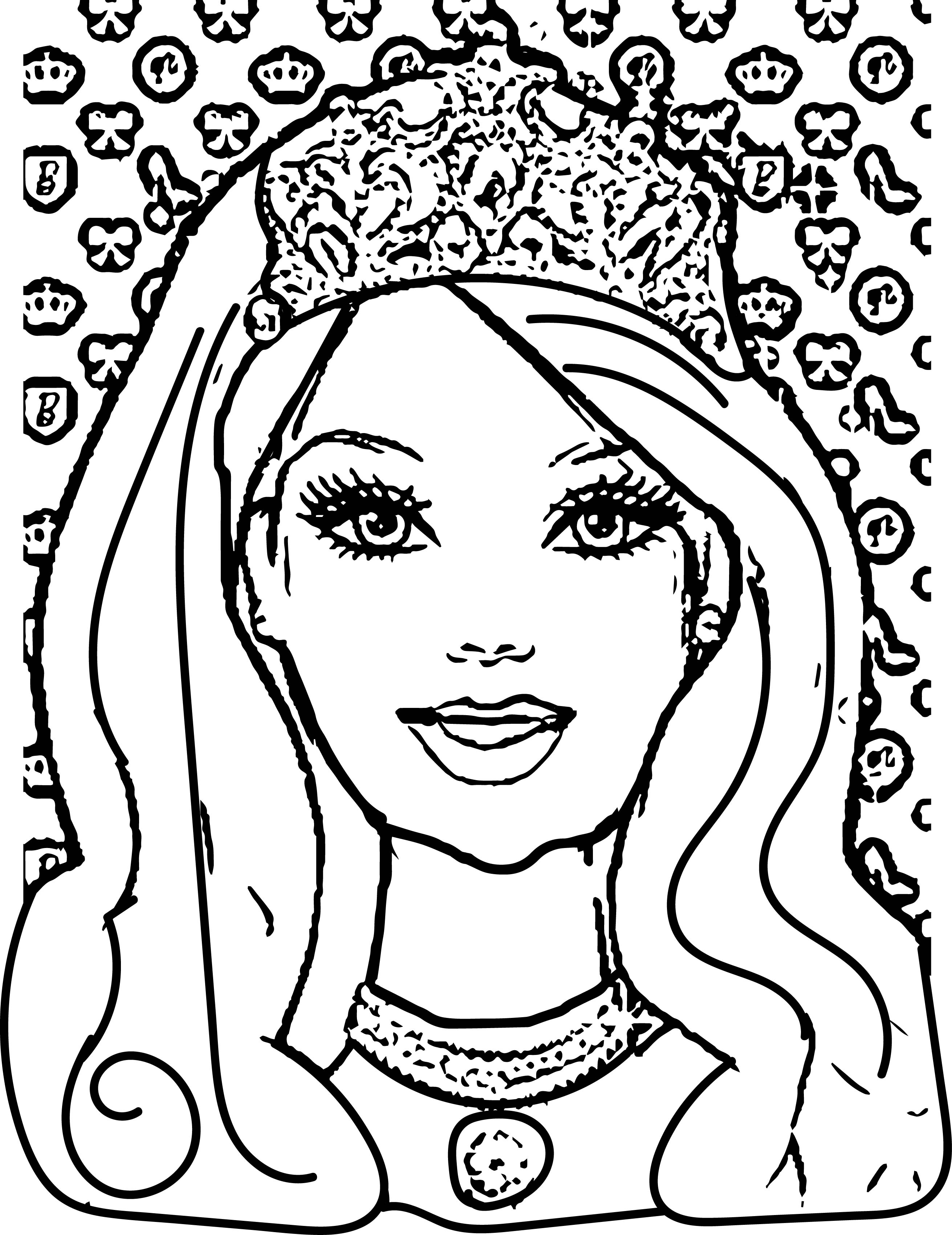 2622x3402 Barbie Face Coloring Page