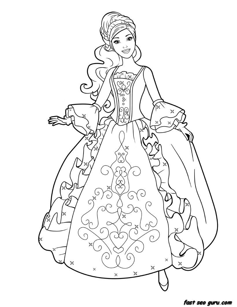 820x1060 Princess Coloring Pages Page Child For Girls Printable Barbie