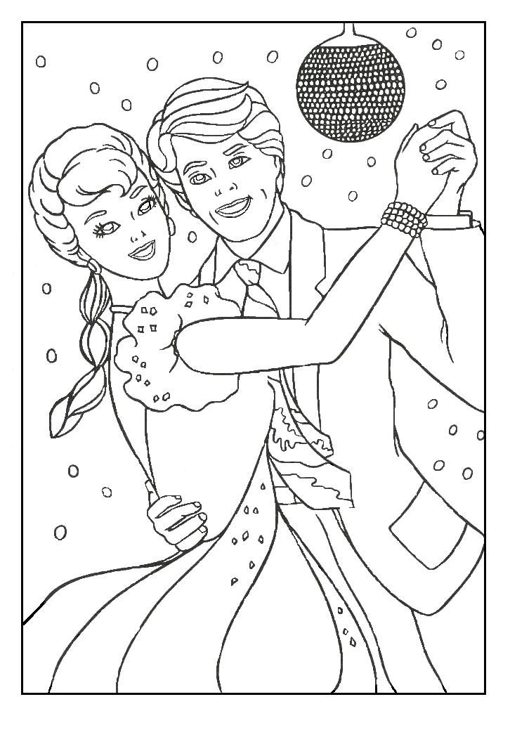 726x1039 Barbie Dancing With Ken Coloring Pages Coloring Pages