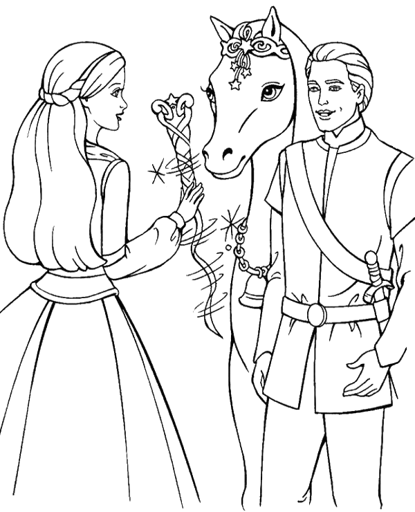 600x740 Barbie, Ken And Horse Coloring Page