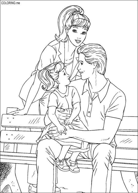 567x794 Coloring Page Barbie, Ken And Their Children