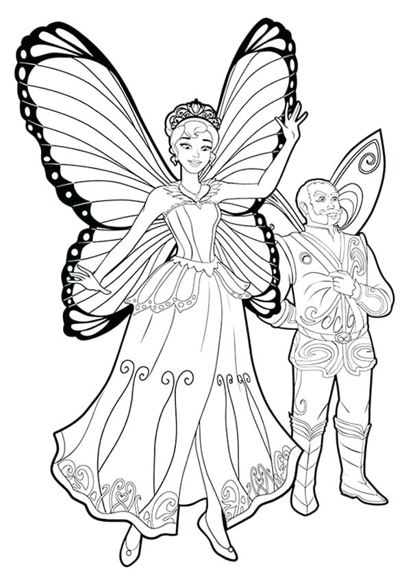 600x834 Coloring Pages Barbie Mariposa Barbie Lord And Queen From Barbie