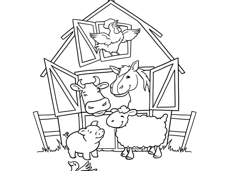 773x576 Farm Animal Coloring Pages