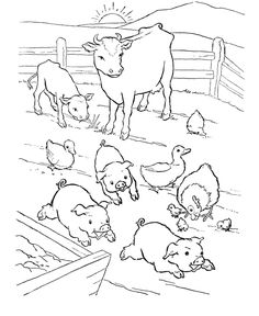 236x288 Farm Animal Coloring Page Pigs Slop Animales