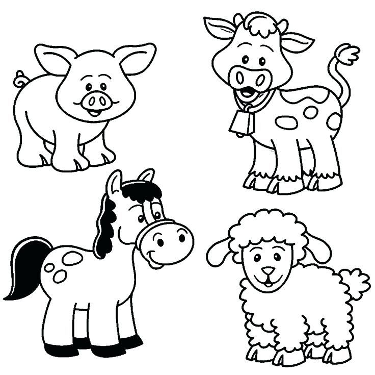 736x735 Barn Animals Coloring Pages Baby Farm Animal Coloring Pages More