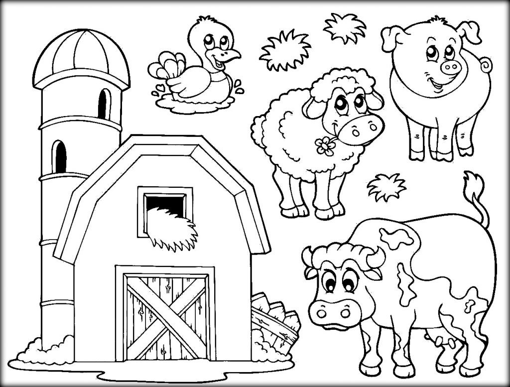 1024x777 Barn Animals Coloring Pages Pictures Of Best Farm