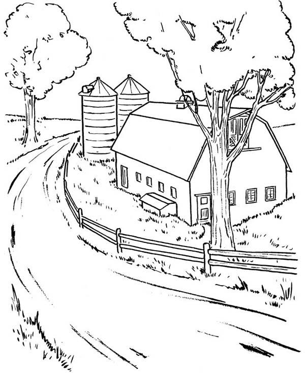 600x734 Farming Barn Coloring Page Color Luna