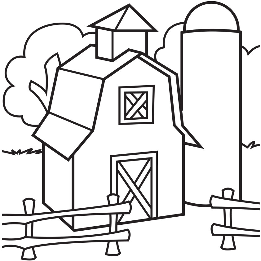842x842 Free Farm Scene Coloring Pages