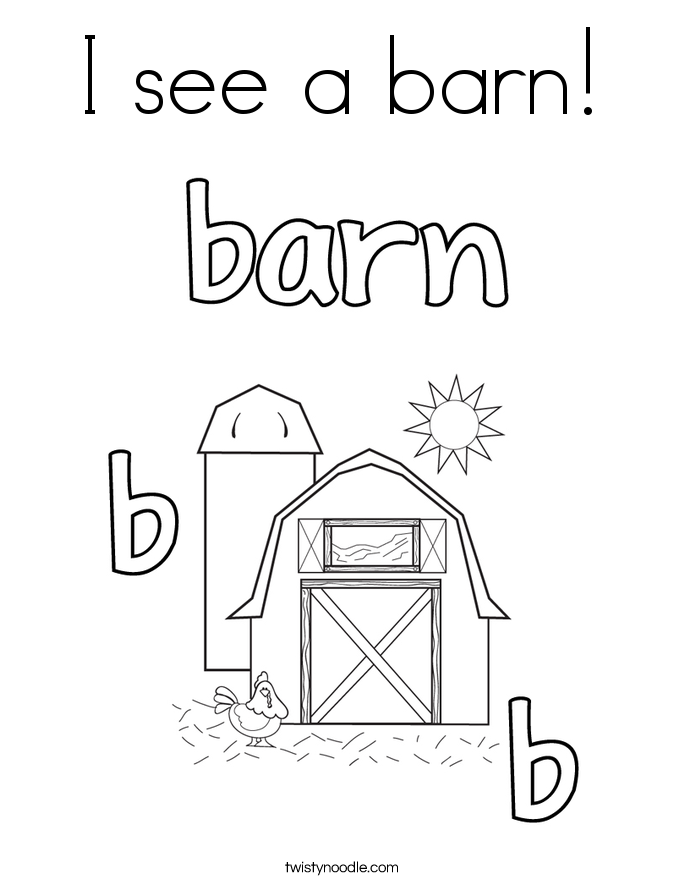685x886 I See A Barn Coloring Page