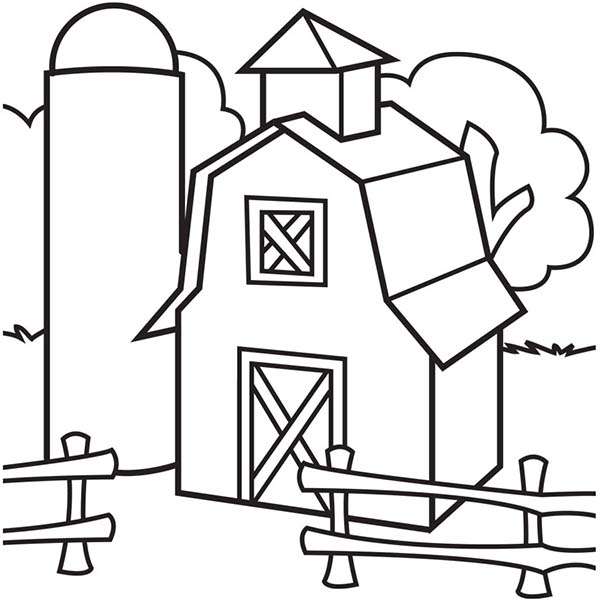 600x600 Image Of Barn And Silo Coloring Page Color Luna