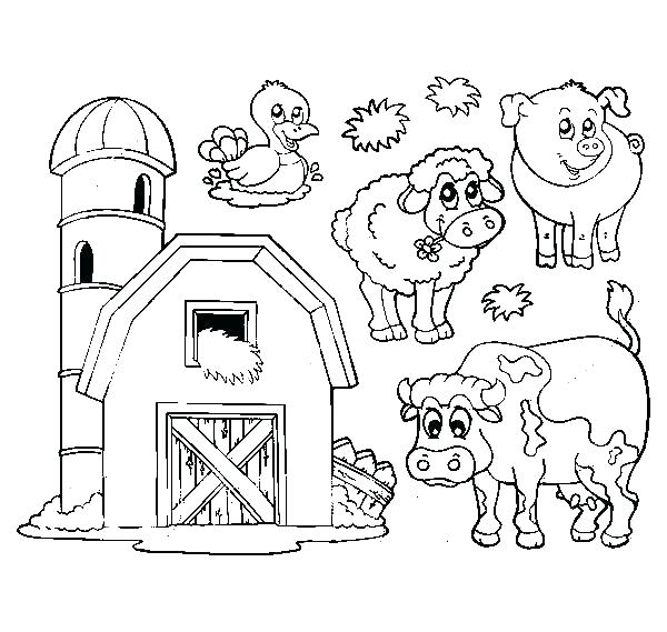 600x569 Barn Coloring Page Barn Barn Coloring Pages With Animals