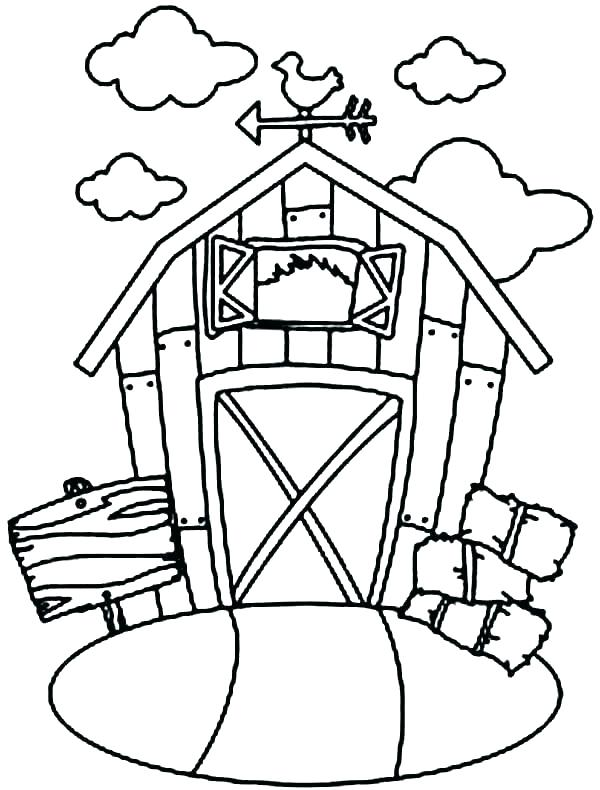 600x790 Barn Coloring Page