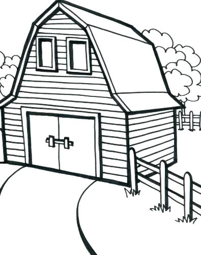 395x500 Barn Coloring Pages