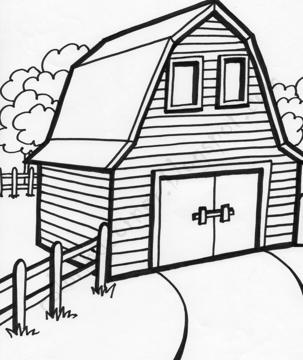 1000x1186 Barn Coloring Pages