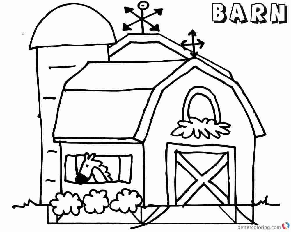 1000x800 Barn Coloring Pages Horse In The Free Printable And Olegratiy