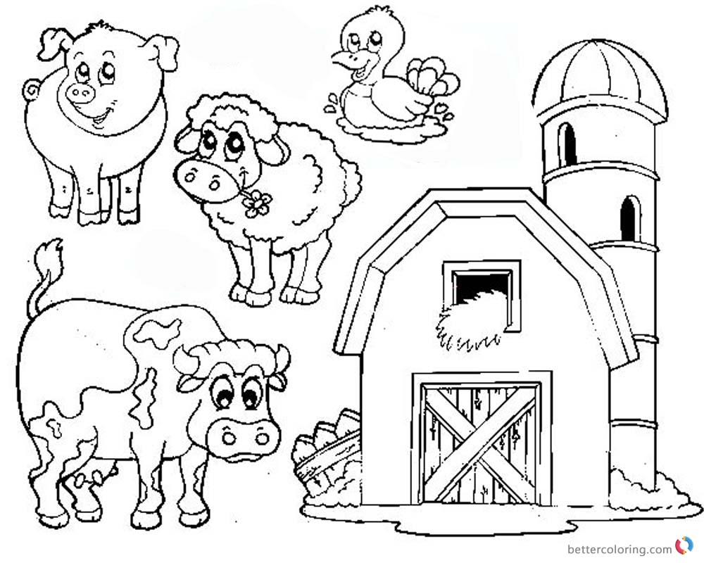 1000x800 Barn Coloring Pages Farm Animals